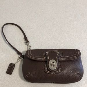 "Coach Brown Pebble Leather Wristlet 7"" X 4"" New"